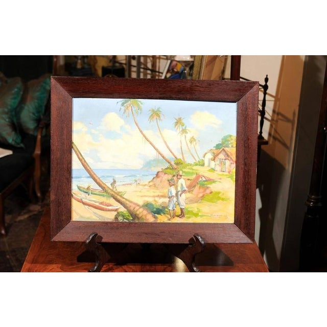 British Colonial Island Landscape Oil Painting For Sale - Image 3 of 6