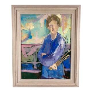 Framed Oil on Canvas Expressive Portrait of Painter Signed For Sale