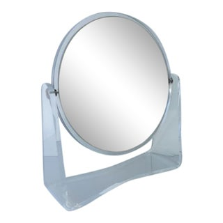 Charles Hollis Jones Vanity Table Mirror With Lucite Base For Sale