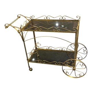 Italian Mid Century Scroll Bar Cart