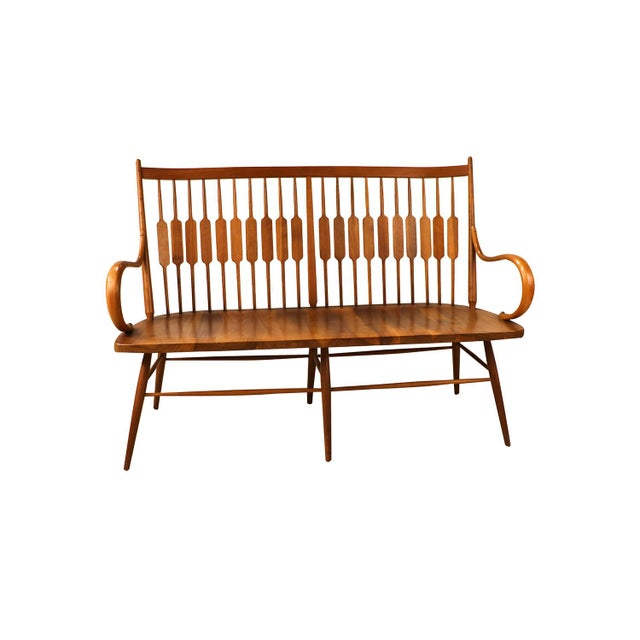 Beautiful Mid-Century spindle back bench designed by Kipp Stewart and Stewart MacDougall for Drexel Furniture. Bench is...