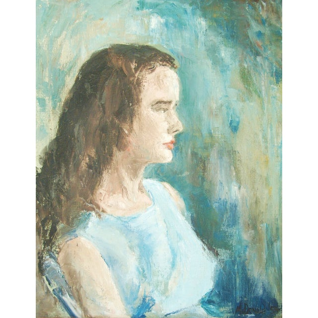 Mid-Century Lady in Blue Oil on Canvas Portrait - Image 4 of 8