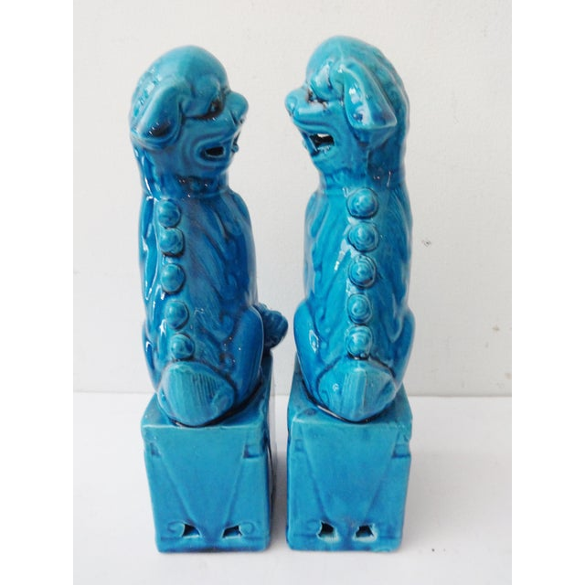 Turquoise Porcelain Foo Dogs - A Pair - Image 6 of 7