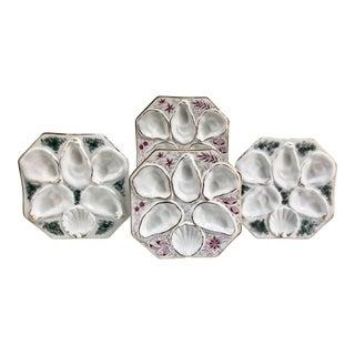Antique Limoges Porcelain Hand-Decorated Oyster Plates - Set of 4 For Sale
