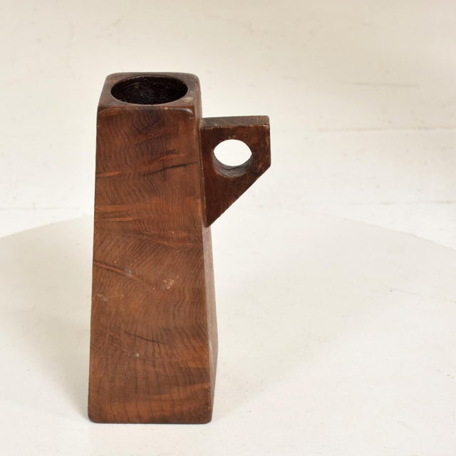 1960s Mid-Century Modern Burl Wood Craftsmanship Candle Holder For Sale - Image 5 of 9