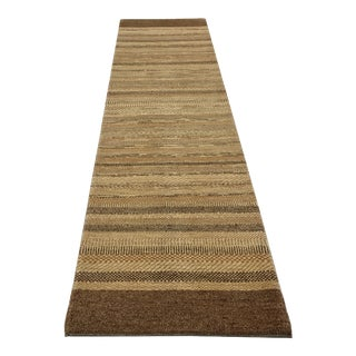 Persian Gabbeh Striped Design Wool Hand Knotted Runner Rug - 2′6″ × 9′11″ For Sale