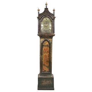 George III Green Japanned Tall Case Clock For Sale