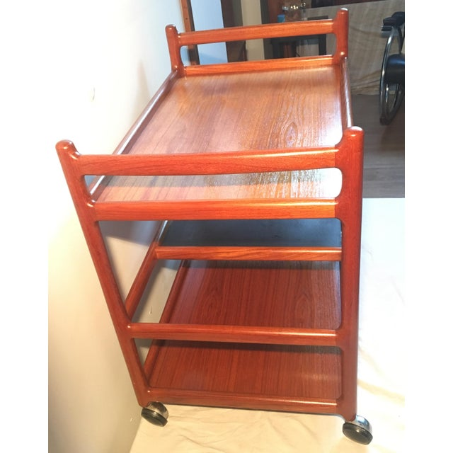 Johannes Andersen Mid-Century Solid Teak Bar Cart For Sale - Image 11 of 11