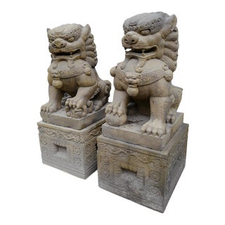 Vintage Kalin Stone Foo Dog - a Pair For Sale