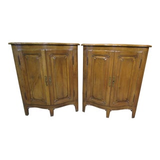French Country Cottage Style Low Corner Cabinets - a Pair For Sale