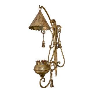 Vintage Palladio Gilt Metal Tassel Candle Wall Sconce For Sale