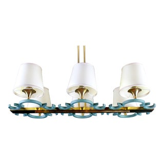 French Mid-Century Modern Brass Chandelier, Six Lights For Sale