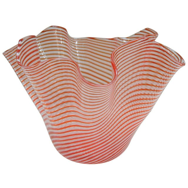 Red 1950s Fratelli Toso Fazzoletto Murano Vase For Sale - Image 8 of 8