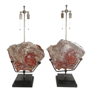 Mid 20th Century Petrified Wood Lamps - a Pair For Sale