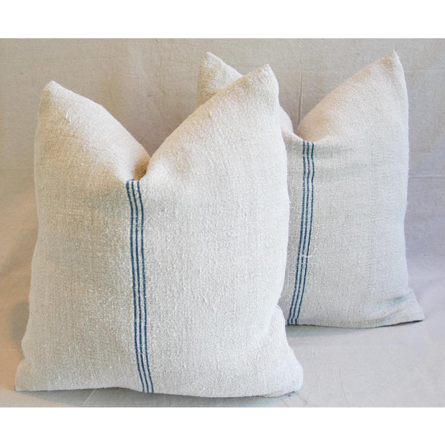 Custom French Grain Sack Down & Feather Pillows - Pair - Image 8 of 9