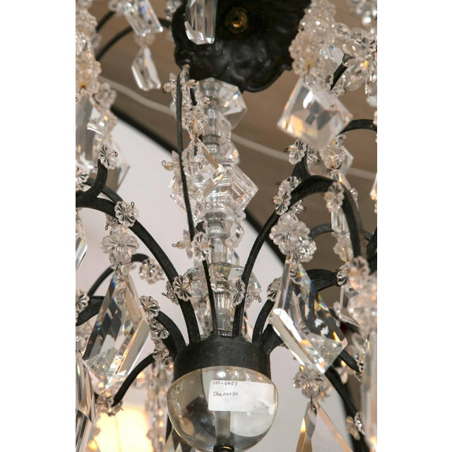 1970s Holly Hunt Wrought Iron & Crystal Chandelier For Sale - Image 5 of 10