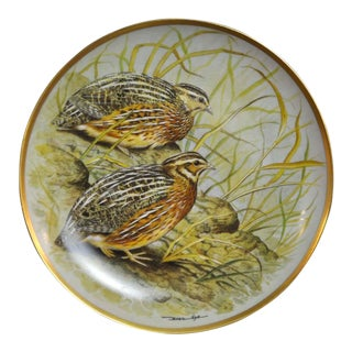 Franklin Limoges Porcelain Wall Plate Gamebirds Motif Limited Edition 1979 France Common Quail For Sale