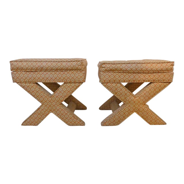 X Base Upholstered Stools - A Pair For Sale