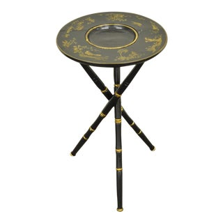 Antique Victorian English Decorated Faux Bamboo Tripod Occasional Side Table For Sale