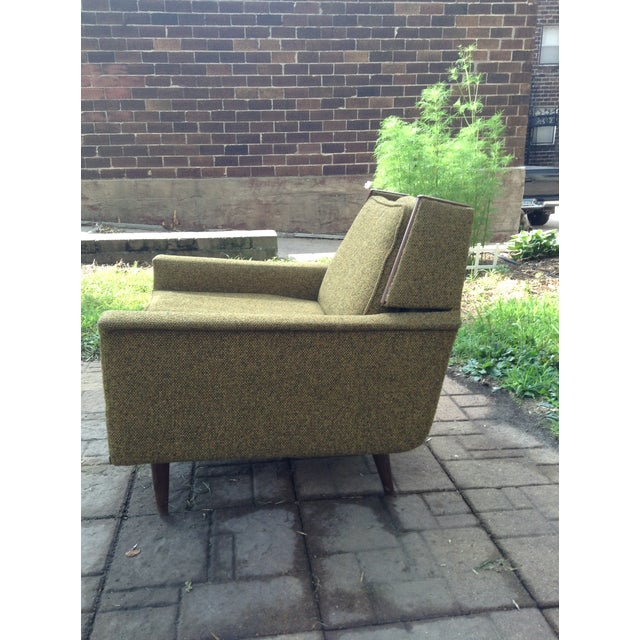 Mid-Century Modern 1960s Mid-Century Modern Army Green Wool Side Chair For Sale - Image 3 of 8