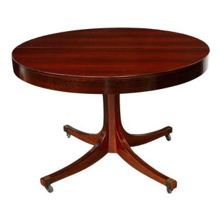 Midcentury Italian Convertible Dining Table With Self Containing Leaf For Sale
