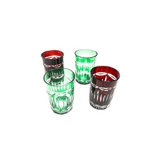 1960s Hand Crafted Ajka Bohemian Red and Green Crystal Cut Mini Glasses - Set of 4 For Sale