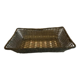 Vintage French Woven Metal Wire Basket For Sale
