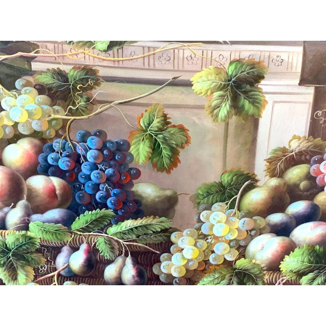 Canvas European Still Life of Grapes on a Ledge, Unsigned For Sale - Image 7 of 11