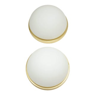 Limburg Brass and Frosted Glass Flush Mounts / Sconces - a Pair For Sale