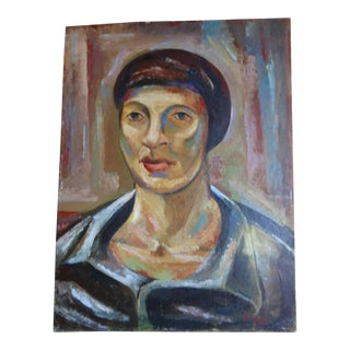 Head of a Woman Oil on Board Signed Thompson 1948 For Sale