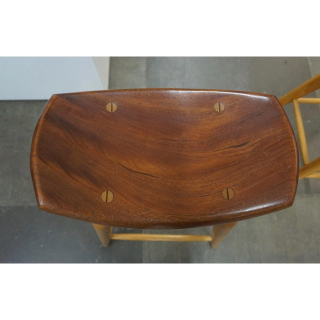 Mid-Century Modern Set of 4 Mixed Wood Barstools For Sale - Image 3 of 10