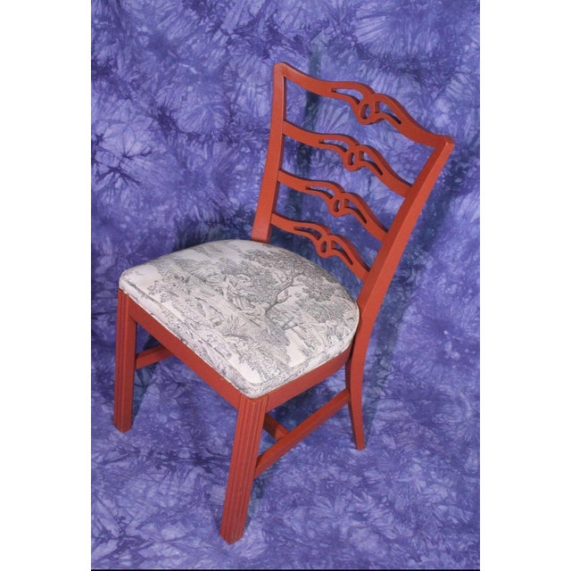 Red Painted Antique Dining Chairs - Set of 4 For Sale In New York - Image 6 of 11