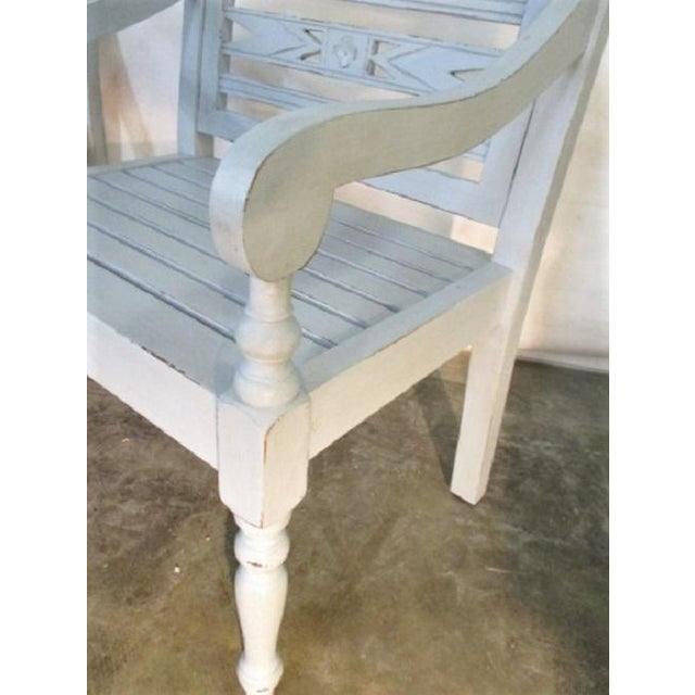 Shabby Chic Cottage Style Light Blue Wood Accent Garden Chairs - a Pair For  Sale - - Shabby Chic Cottage Style Light Blue Wood Accent Garden Chairs - A
