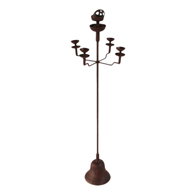 Vintage Iron Shanxi Candle Stand - Medium For Sale