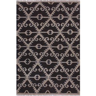 Contemporary Kilim Angelo Gray/Brown Hand-Woven Wool Rug - 5'4 X 6'5 For Sale