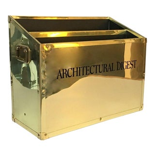 Vintage Architectural Digest Brass Campaign Trunk Style Magazine Holder