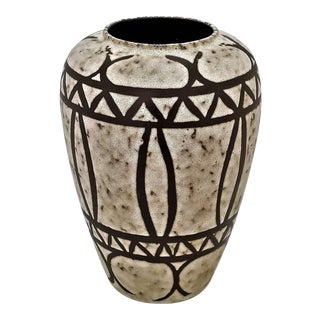 Large 1970s Brutalist Scheurich Ceramic Art Pottery Floor Vase-Mid Century Organic Modern MCM Palm Beach Boho Chic Lava Geometric Pattern Sculpture For Sale