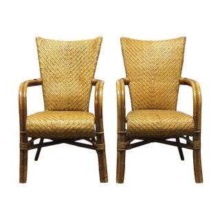 Tan Wicker Chairs-a Pair For Sale
