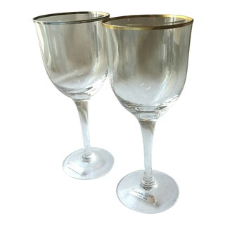 Vintage Noritake Clear Gold Platinum Rim Wine Glasses - a Pair For Sale