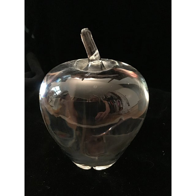 1980s Vintage Steuben Crystal Signed Apple Paperweight For Sale - Image 5 of 7
