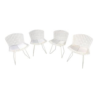 Bertoia White/Chrome Wire Chairs - Set of 4 For Sale