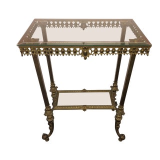 Victorian Brass Colored Side Table With Glass Top For Sale
