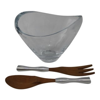 Nambe Neil Cohen Amore Crystal Bowl with Nambe Karim Rashid Salad Server Set For Sale