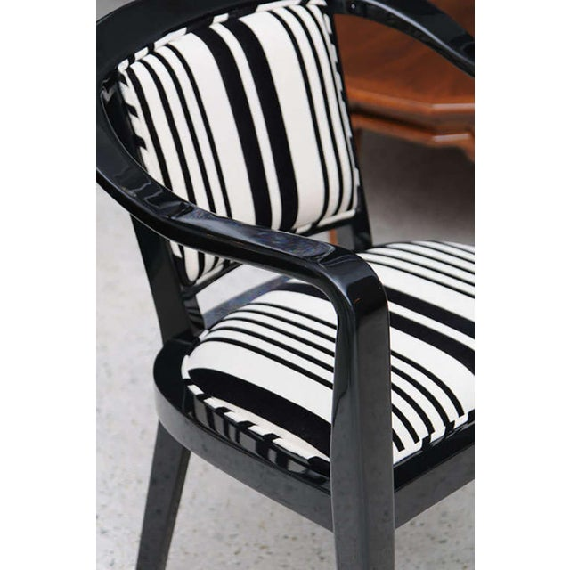 Textile Set of Ten Ebonized Armchairs in the Style of Ed Wormley for Dunbar For Sale - Image 7 of 9
