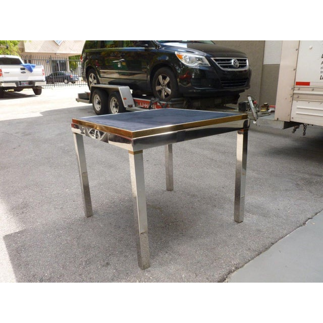 Mid-Century Modern 1970's Mid-Century Modern Willy Rizzo Chrome and Brass Gaming Table For Sale - Image 3 of 6