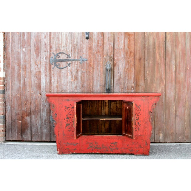 Asian Antique Chinoiserie Lacquer Cabinet For Sale - Image 3 of 8