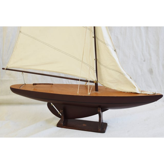 Brown Vintage Nautical Sailing Ship/Boat Model W/Stand For Sale - Image 8 of 13