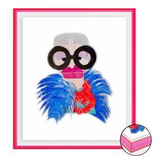 Iris with Blue Feather Cape by Melvin G in Neon Pink Acrylic Shadow Box, Small Art Print For Sale