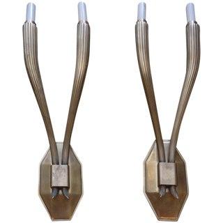 Pair of Art Deco Style Brass Sconces After Emile-Jacques Ruhlmann For Sale