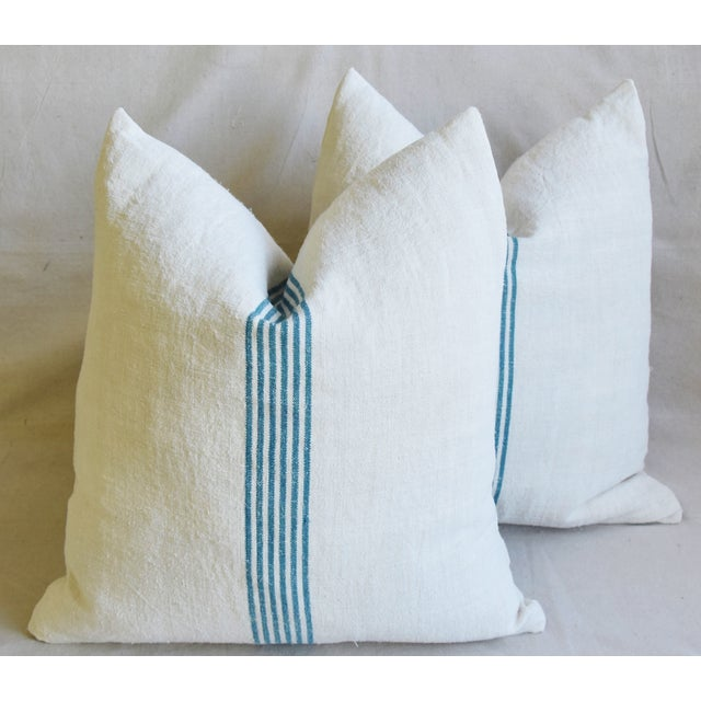 """Blue Aqua Striped French Homespun Grain Sack Textile Feather/Down Pillows 21"""" Square - Pair For Sale - Image 8 of 13"""